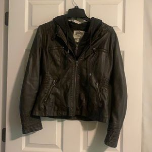 Brown Faux Leather Jacket (runs small)